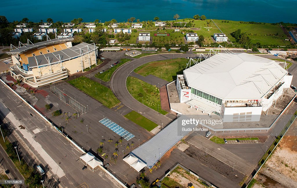 Aerial view of the Maria Lenk Aquatic Center (L) that will host water sport events in Rio 2016 Olympic Games and the Rio Olympic Arena that will hosts Gymnastics events and wheelchair basketball in the Paralympics 2016 on June 6, 2013 in Rio de Janeiro, Brazil.