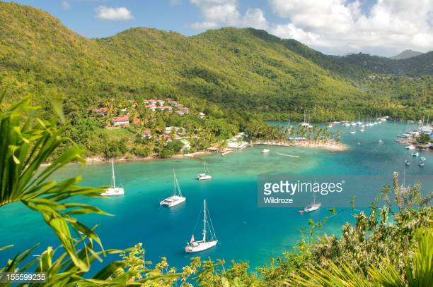Aerial view of the Marigot Bay on St. Lucia island