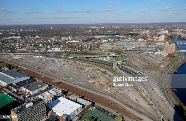 A aerial view of the Massachusetts Turnpike and former train yards in the Allston neighborhood of Boston is pictured on Nov 9 2017 The desolate tract...
