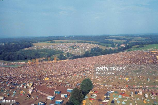 Aerial view of the massive crowd as they attend the Woodstock Music and Arts Fair in Bethel New York August 15 17 1969