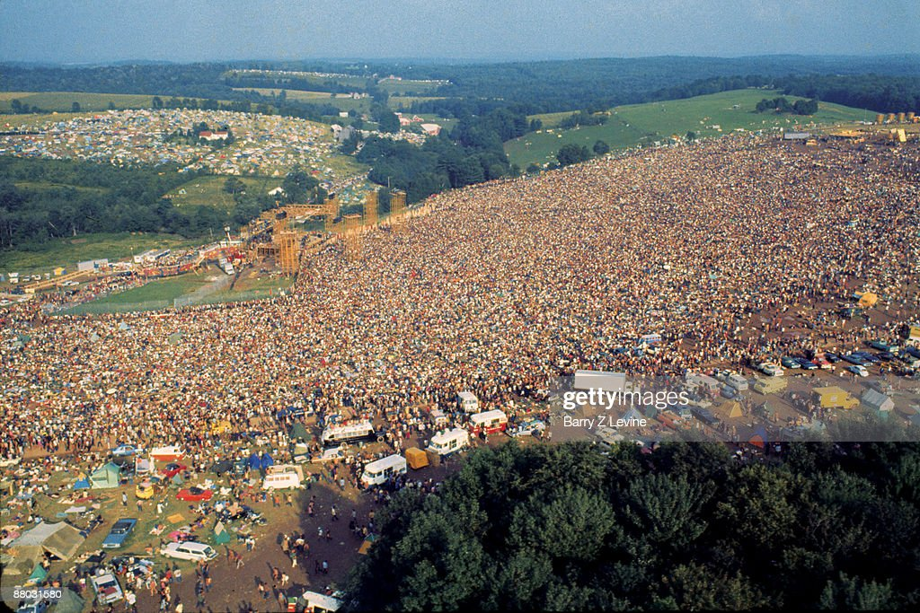 Aerial view of the massive crowd in attendance at the Woodstock Music and Arts Fair in Bethel, New York, August 15 - 17 (and part of the 18th), 1969.