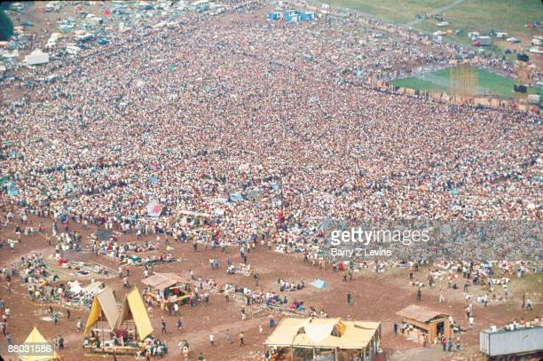 Aerial view of the massive crowd in attendance at the Woodstock Music and Arts Fair in Bethel, New York, August 15 - 17 , 1969.