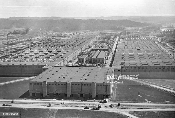 Aerial view of the massive K25 gaseous diffusion plant Oak Ridge Tennessee early August 1945 The plant and indeed the entire city of Oak Ridge was...