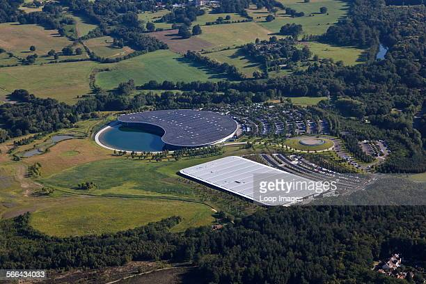 Aerial view of the McLaren Formula One Headquarters and sports car production factory near Woking.
