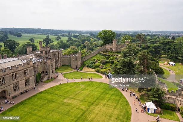 aerial view of the medieval castle in warwick, england - warwick uk stock photos and pictures