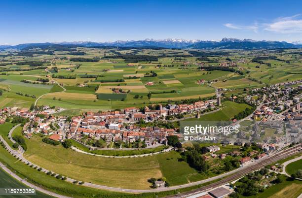 aerial view of the medieval town of romont in switzerland - ロモント ストックフォトと画像