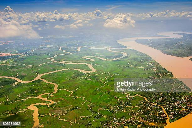 Aerial View of the Mekong Delta in Southern Vietnam