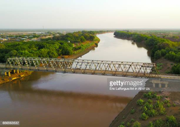 Aerial view of the metal bridge over Omo river Omo Valley Omorate Ethiopia on March 8 2017 in Omorate Ethiopia