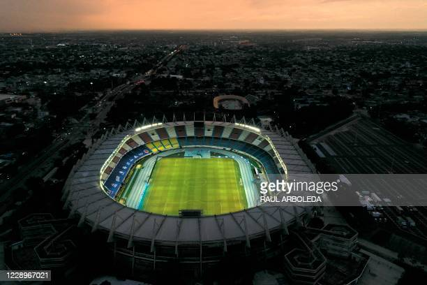 Aerial view of the Metropolitano stadium in Barranquilla, Colombia, on October 8 on the eve of a 2022 FIFA World Cup South American qualifier...