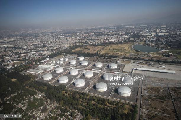 Aerial view of the Mexican oil company PEMEX oil complex in Azcapotzalco on the outskirts of Mexico City taken on February 4 2019 as Since taking...