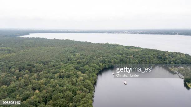 Aerial view of the Müggelsee near Berlin In front you can see the 'Kleine Müggelsee' in the back the huge 'Große Müggelsee' It is the largest of the...