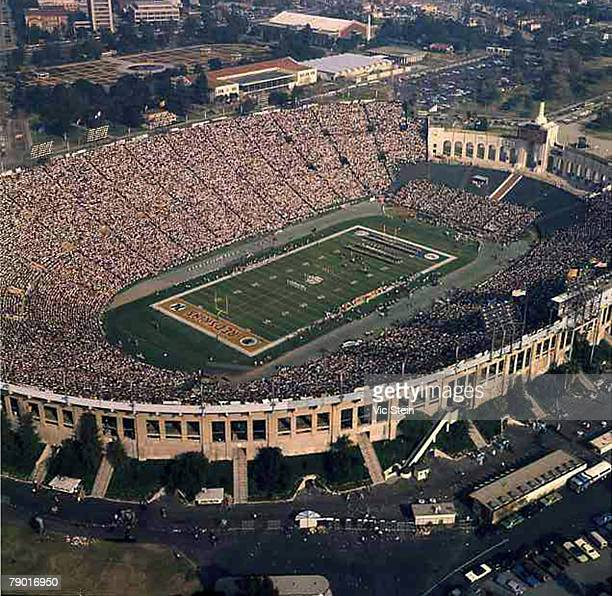 Aerial view of the Miami Dolphins taking on the Washington Redskins in Super Bowl VII at the Los Angeles Coliseum on January 14 1973 in Los Angeles...