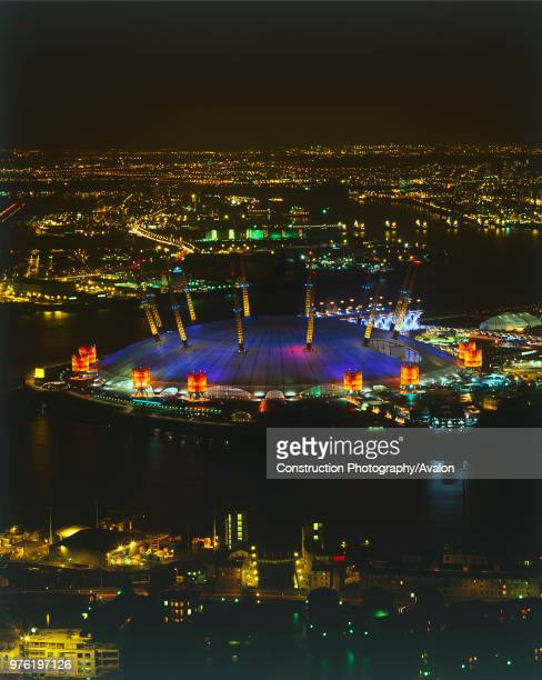 Aerial view of the Millennium Dome at night Docklands area, London United Kingdom.