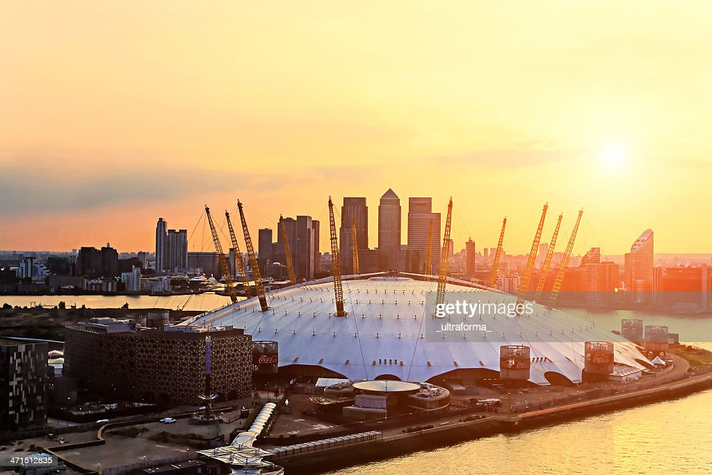 Aerial view of The Millennium Dome at sunset : Stock Photo