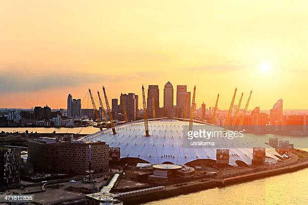 aerial view of the millennium dome at sunset - dome stock pictures, royalty-free photos & images
