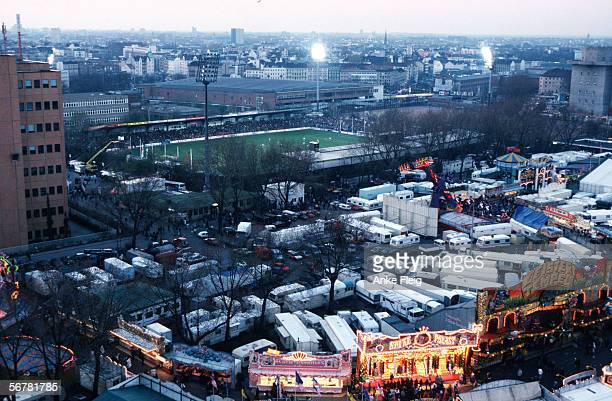 A aerial view of the Millerntor Stadium on April 17 1997 in Hamburg Germany