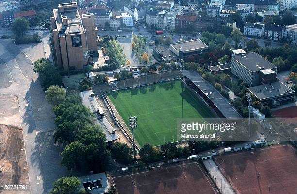 A aerial view of the Millerntor Stadium on October 19 1999 in Hamburg Germany