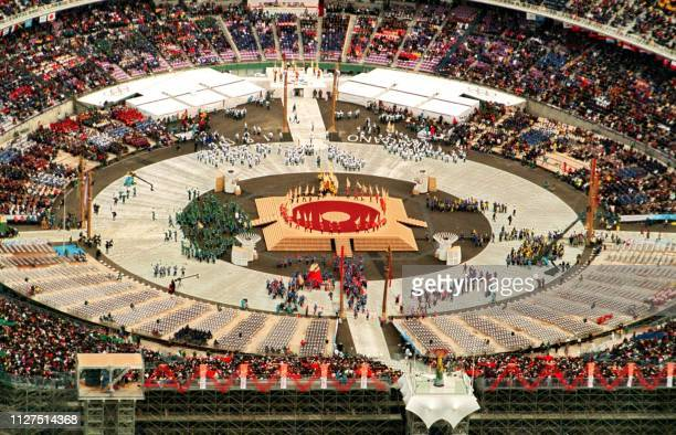 Aerial view of the Minami stadium where the opening ceremony of the 18th Winter Olympics is underway in Nagano 07 February Some 2315 athletes from a...