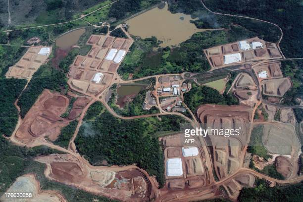 Aerial view of the mining site of Vale the biggest Brazilian mining company in Para state Brazil on August 6 2013 AFP PHOTO / YASUYOSHI CHIBA / AFP...