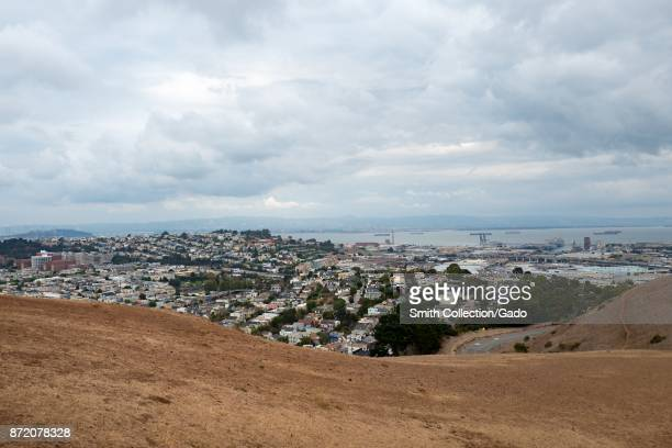 Aerial view of the Mission Bay and Dogpatch neighborhoods of San Francisco, California from Bernal Heights on an overcast day, November 3, 2017.