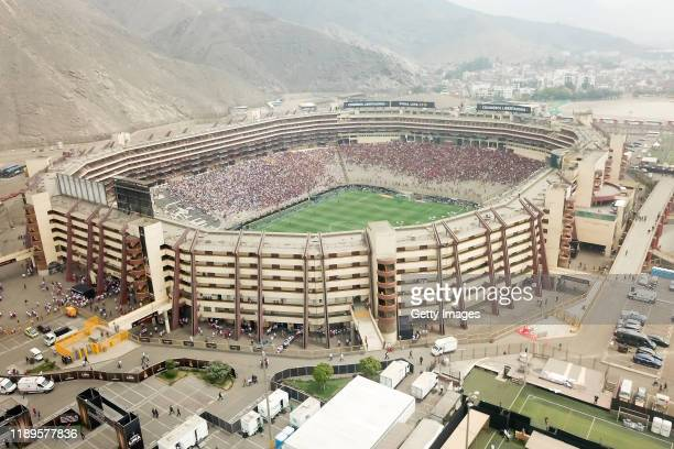Aerial view of the Monumental Stadium prior to the final match of Copa CONMEBOL Libertadores 2019 between Flamengo and River Plate at Estadio...