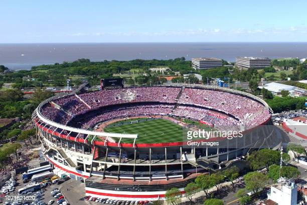 Aerial view of the Monumental Stadium prior to the second leg final match of Copa CONMEBOL Libertadores 2018 between River Plate and Boca Juniors at...