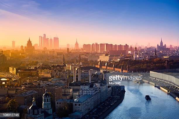 aerial view of the most famous buildings in moscow (xxxl) - russia stock pictures, royalty-free photos & images