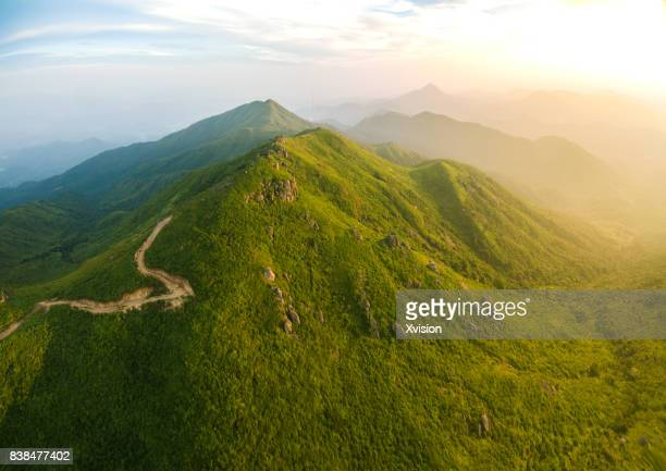 aerial view of the mountain near sunset in fuzhou city,jiangxi province - fuzhou stock pictures, royalty-free photos & images
