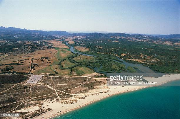 Aerial view of the mouth of river Liscia at Porto Raphael Palau Province of OlbiaTempio Sardinia Region Italy