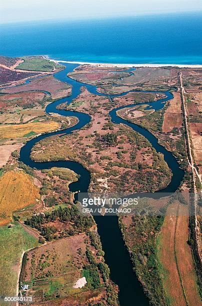 Aerial view of the mouth of the Posada river at Posada Sardinia Italy