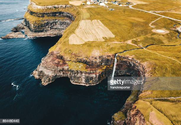aerial view of the mulafossur waterfall in gasadalur - gullfoss falls stock photos and pictures