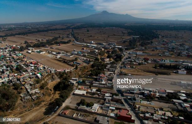 Aerial view of the municipality of Tenancingo Tlaxcala state Mexico with the Malinche mountain in the background on January 19 2018 The most powerful...