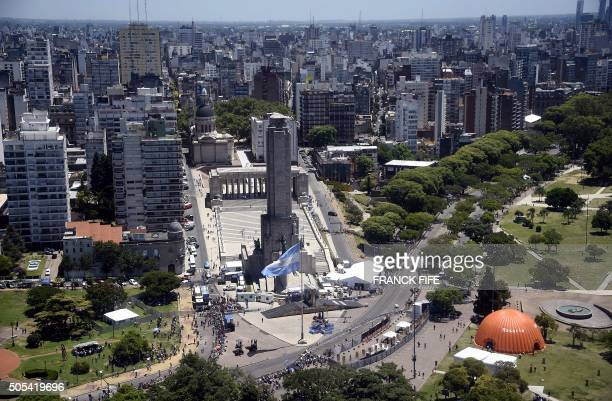 Aerial view of the National Flag Memorial Building in the city of Rosario on the banks of the Parana River in Argentina during stage 13 of the Dakar...
