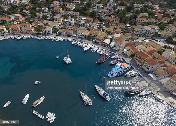 Aerial view of The natural port of Gaios on August 08 2015 in Paxos Greece Gaios is the main port on Paxos the smallest of the seven principal Ionian...