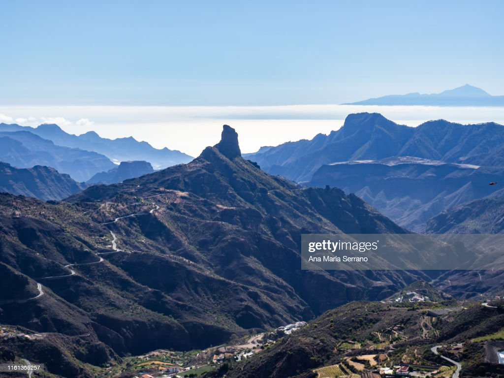 "Aerial view of the natural space ""Risco Caído and the Sacred Spaces of Montaña de Gran Canaria"" in Tejeda, Gran Canaria island, Canary Islands, Spain with the Teide in the background : Stock Photo"