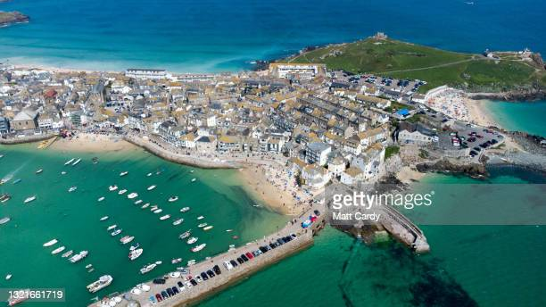 Aerial view of The nearby town of St Ives close to The Carbis Bay Estate hotel and beach, which is set to be the main venue for the upcoming G7...