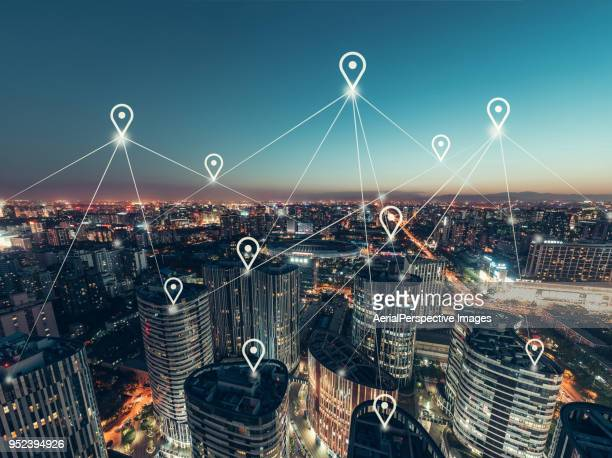 aerial view of the network of the office building - geographical locations stock pictures, royalty-free photos & images