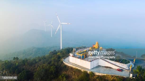 aerial view of the new mavnuru malleshwara temple - karnataka stock pictures, royalty-free photos & images
