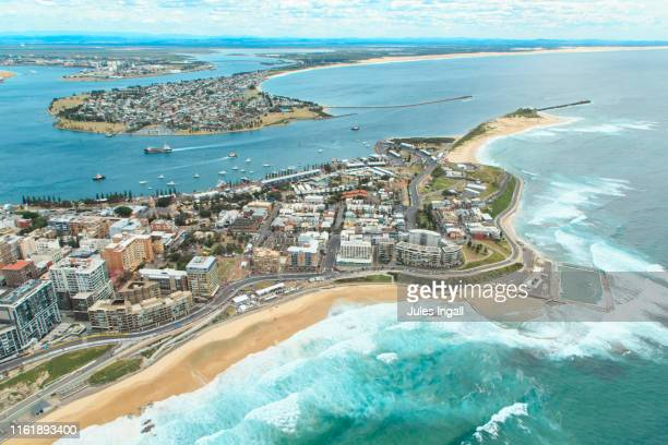 aerial view of the newcastle headland - new south wales stock pictures, royalty-free photos & images