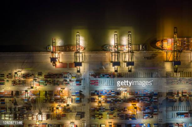 aerial view of the night view of the harbour commercial terminal - tariff stock pictures, royalty-free photos & images