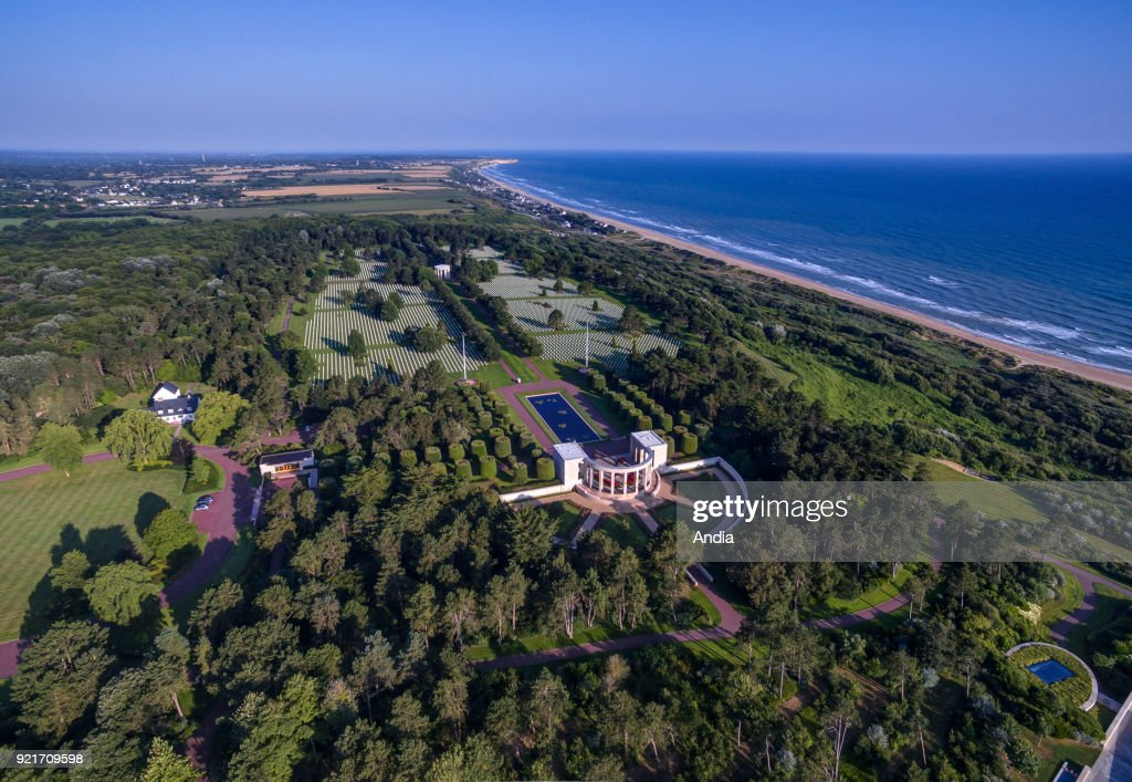 Aerial view of the Normandy American Cemetery and Memorial in Colleville-sur-Mer, in memory of the American soldiers who died during the Normandy Landings on June 6, 1944.