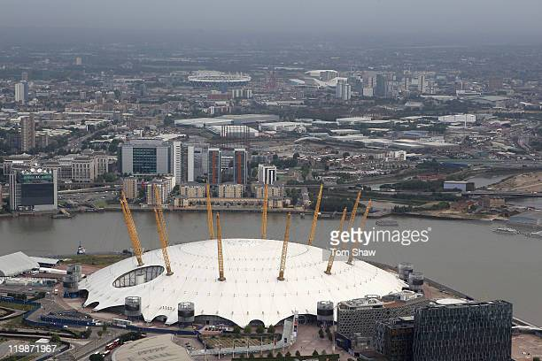 Aerial view of the North Greenwich Arena, also known as The Dome, which will host Artistic Gymnastics, Trampoline, Basketball andWheelchair...