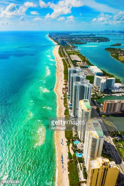 aerial view of the north miami beach florida coastline - miami beach stock photos and pictures