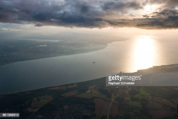 aerial view of the northern end of öresund strait, denmark/sweden - helsingborg stock pictures, royalty-free photos & images