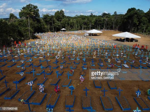 Aerial view of the Nossa Senhora Aparecida cemetery where COVID19 victims are buried daily in the neighbourhood of Taruma in Manaus Brazil on June 2...