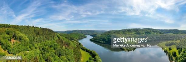 aerial view of the obersee (upper rursee), in the eifel mountains, einruhr, simmerath, north rhine-westphalia, germany - stausee stock-fotos und bilder