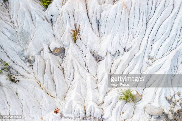 aerial view of the old chalk quarry. soil erosion - chalk rock stock pictures, royalty-free photos & images
