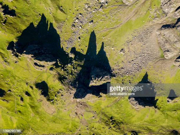 aerial view of the old man of storr on the isle of skye, united kingdom - scottish highlands stock pictures, royalty-free photos & images