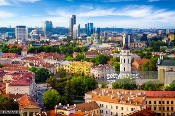 aerial view of the old town and the modern center of vilnius, lithuania - lithuania stock pictures, royalty-free photos & images