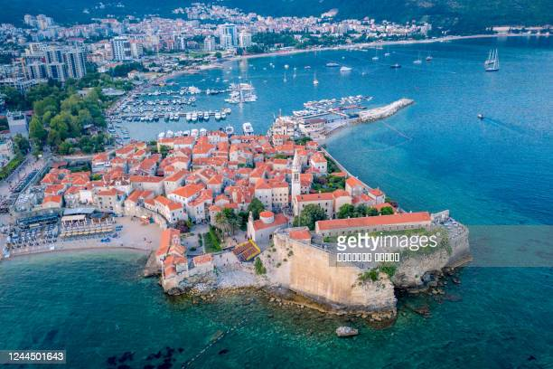 aerial view of the old town budva - balkans stock pictures, royalty-free photos & images